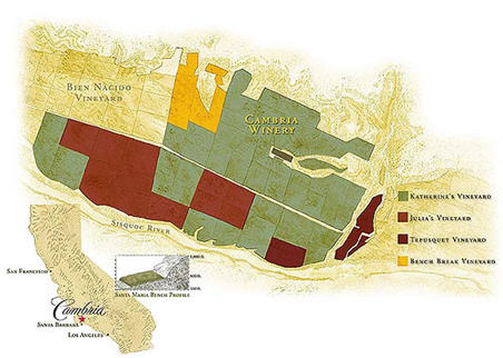 Cambria Vineyards map